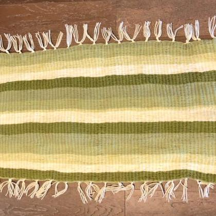 3'x2' Striped Green Handmade Doorma..