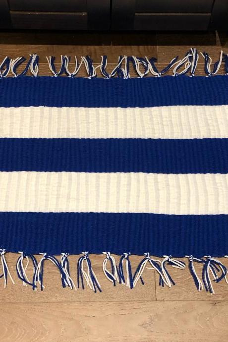 Large KENTUCKY Blue and White Handmade Door Bath Kitchen Mat or Rug